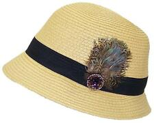 A&W Women's Paper Straw Cloche Hat W/Jewels, Feathers & Band #1073 Khaki