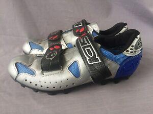 Sidi - Women's Cycling Shoes - Size EUR - 40 Silver-Blue W/Shimano Cleat