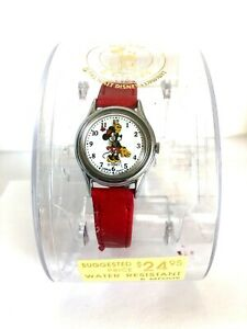 """""""Minnie"""" Mouse Watch-Lorus Quartz-Vintage-New w/Tags & Case-Red Band"""