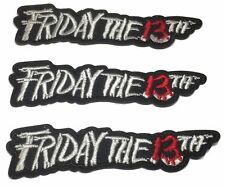 """Friday the 13th Movie Name Logo 4"""" Wide Embroidered Patch Set of 3 Patches"""