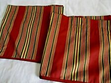 pair of Waverly striped valances rust,tan and green