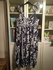 J48 Joanna Hope plussz 20 Bleu Marine & Blanc Floral 100% coton sequin Tiered Maxi Dress
