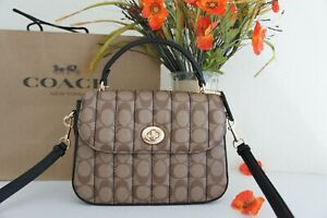NWT Coach C5645 Marlie Top Handle Satchel In Signature Canvas With Quilting $450