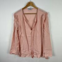 Bohemian Traders Womens Top 2XL Blush Pink Long Sleeve V-Neck