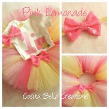 Pink Lemonade Lemon Yellow Baby Girl 1st First Birthday Tutu Outfit Set Shirt
