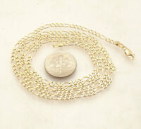 """2.8mm Solid Figaro Chain Necklace Real 14K Yellow Gold All Sizes 16"""" ~ 40"""""""