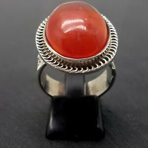 Huge Egyptian Sterling Silver & Carnelian Cabochon Ring - UK Size R - 11.65g -