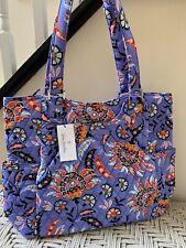 Vera Bradley Large Glenna Tote Bag Purse Mural Garden Floral Purple Purse NWT