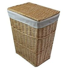 Laundry Basket Willow Wicker Linen Washing Clothes Hinged Lid Honey Tapered 57cm
