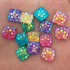 DIY 30PCS mix AB square Resin flower Flat back scrapbook  Wedding  craft buttons