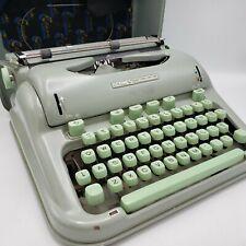 Vintage Green Hermes 3000 Portable Typewriter w/ Case & Handle