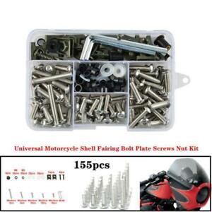 155xStainless Universal Motorcycle Bike Shell Fairing Bolt Plate Screws Nut Kit
