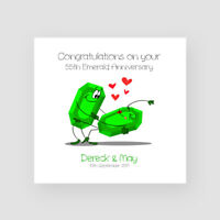 Personalised Handmade 55th Emerald Wedding Anniversary Card - Fifty-Fifth, Funny