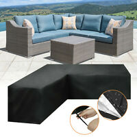 Waterproof Garden Rattan Corner Furniture Cover Outdoor Sofa L Shape Multisize