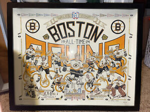 Original 1992 All Time Boston Bruins Poster Signed by Artist Jerry Panarelli
