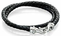 "Fred Bennett 9"" Stainless Steel & Twisted Black Leather Mens Wraparound Bracelet"