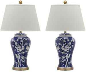 Table Lamp 29 in. Multi Floral in Blue and White with Ceramic Lamp Base (2-Set)
