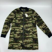 New Sanctuary womens full zip jacket bomber Sz S Camo polyester z 859
