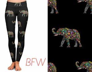 Paisley Flower ELEPHANT Women's Leggings TC2 Extra Plus Size 20-26