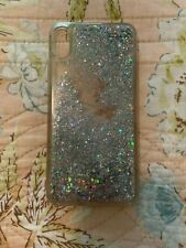 IPHONE 10 MAX Cover Case Clear Sparkling Liquid Silver Glitter Mobile Cell GUC
