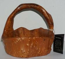 NWT Root Carving Basket w/ Handle Hand Carved Chinese Fir Tree Burl Contrast