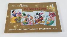 The Art Of Disney Celebration Stamped Postal cards Book 20 Postcards 4 Designs