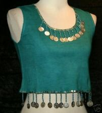 S Teal Boho Hippie Gypsy GYPSY TRIBAL Coin Belly Dance Dancing Choli Shirt Top