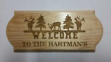 Personalized Family Welcome Elk wood sign Cabin Hunter Christmas Birthday Gift