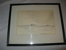 Amazing Rare Rabbit Ears Framed & Matted Pencil Drawing Landscape Vintage