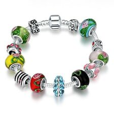 Colorful European Crystal Multi-color Bracelet Flower Charms Colored Glass beads
