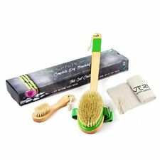 SpaVerde Natural Boar Bristle Body Face Brush Set Dry Brushing Bath Shower Green