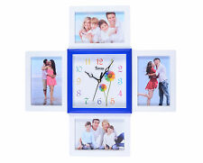 Arpan Photo Time 4 x 6x4'' Multi-Aperture Photo/Picture Frame and Clock - White