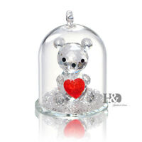 Clear Crystal Little Bear With heart Figurine Ornaments Xmas Wedding Lady Gift