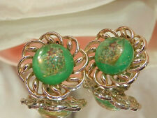 Showy Vintage 1950s Green Confetti Lucite Earrings  1741d