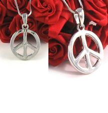 Peace Sign Symbol Necklace Snake Chain Silver Tone Children Kids Pendant Charm