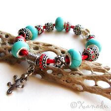 Turquoise Gemstone Southwest Theme European Style Charm Bracelet On Red Leather