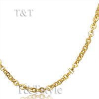 UNIQUE T&T 2mm 14K Gold GP 316L Stainless Steel Seemless ROLO Chain Necklace C61