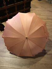 "Vintage ""Old Hollywood"" Style Silk-Poly Peach Umbrella Plastic Curve Handle"