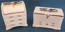 RARE AYNSLEY CHINA Miniature Pembroke écriture bureau & bureau commode