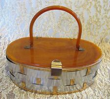 Vtg 50s 40s Brown Marbled Lucite Purse Box Bag with Silver & Gold Basketweave