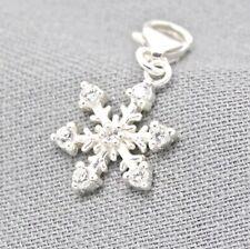 925 Silber Charm Armband Anhänger mit Zirkonia - Schneeflocke / Eiskristall