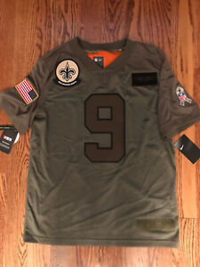 NIKE NFL SALUTE TO SERVICE NEW ORLEANS SAINTS DREW BREES FOOTBALL JERSEY - $170