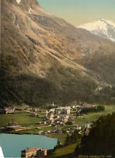 Ober-Engadin. St. Moritz-Bad mit Piz Surlej.  PZ vintage photochromie, photoch