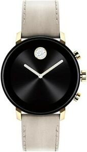 New Movado Unisex Swiss Connect 2.0 Leather Strap Smart Watch 40mm 3660024