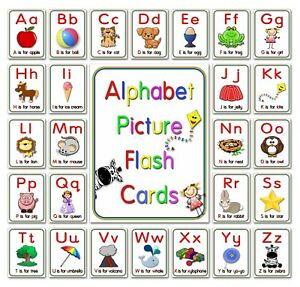 Alphabet flash cards picture ABC colour EYFS preschool early year sen resource S