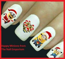 Christmas Nail Art Decals Water Transfers Wraps Stickers Minions Santa #2039