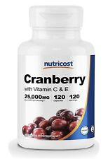 Nutricost Cranberry Extract (25,000mg) (120 Capsules) With Vitamin C & Vitamin E