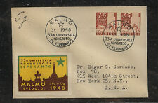 Sweden Esperanto label on cover to Us 1948 Ms0305
