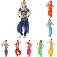 Indian Girl Kids Belly Dance Costume Sparkly Circle Sequin Coins Top Skirt Dress