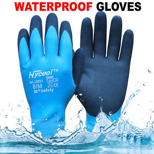 Waterproof Winter Work Gloves Fully Latex Coated Cold Safety Grip Groves